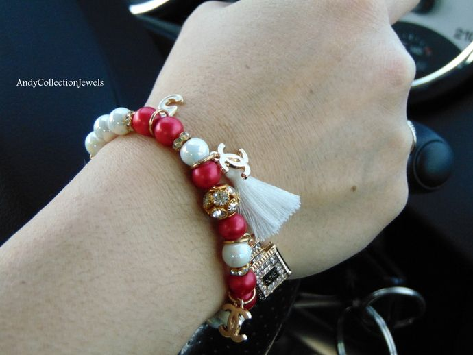 Women's Red & White Glass Pearls Wristband with Replica Rhinestone Parfum No5, CC Charms and Tassel
