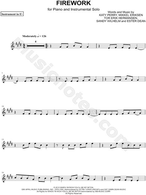 "Katy Perry ""Firework - Eb Instrument"" Sheet Music (Alto or Baritone Saxophone) - Download & Print"
