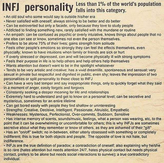 Infj personality type***is this what feeds the obsession, the fact i am one of the rarest personality types? Its not me u are attracted to but the rareness, made all the more frustrating for u coz i can't be bought. U have a problem letting go of things. U need to develop ur recognition that the grass isnt always greener, stop idealising what it would be like. U save more face by stopping then endlessly pursuing someone who has moved on, and moved on along time ago. Just stop for the love of…