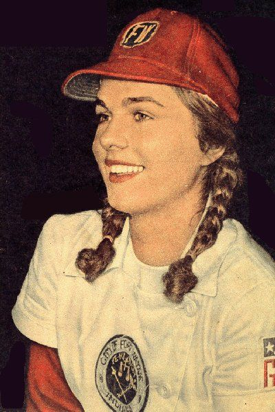 """Dorothy [″Dottie″] Schroeder (1928 – 1996) was a shortstop who played from 1943 through 1954 in the All-American Girls Professional Baseball League. She probably received more media attention and signed more autographs than any other All-American. An appropriate symbol of the feminine character of a league which wanted girls to look like women but play ball like men. She inspired the character in """"A League of Their Own"""", catcher Dottie Hinson, for she appeared as such on Life's cover,"""