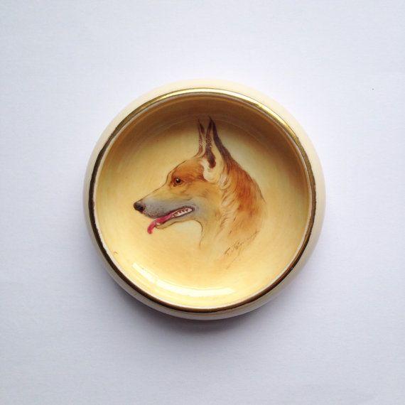 Vintage Paragon bone china dish with Alsatian by GalabeerandtheDog