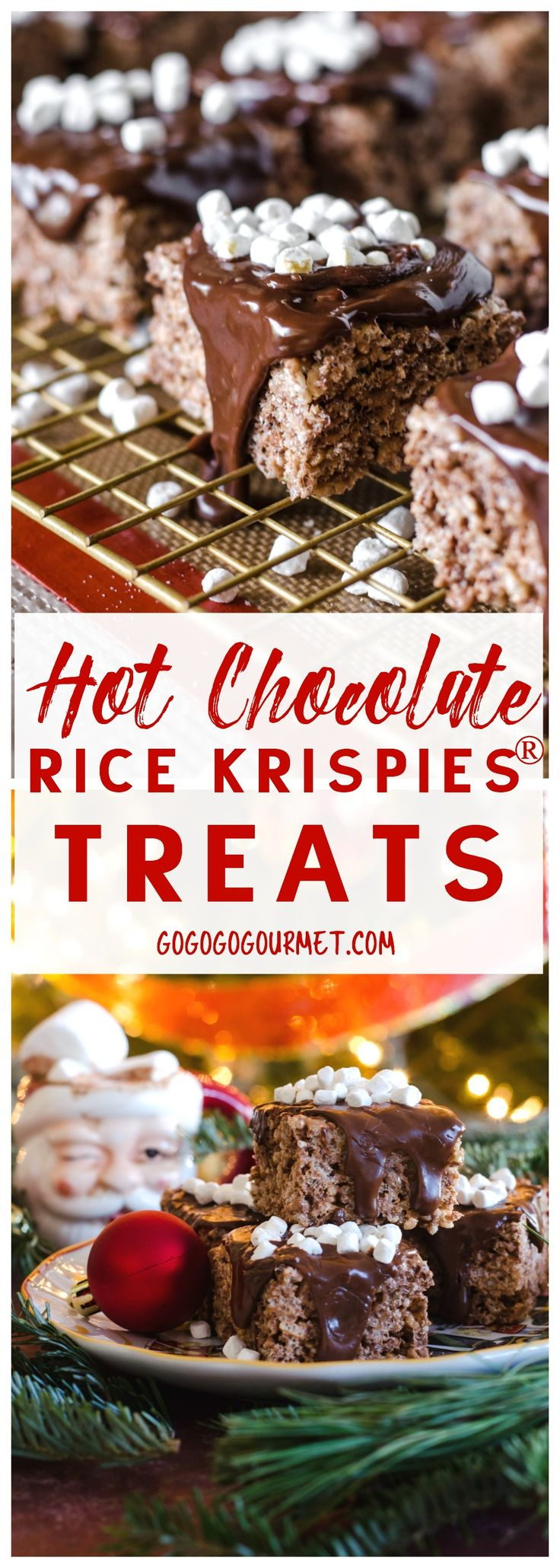 Hot Chocolate Rice Krispies® Treats are the perfect holiday treat! via @gogogogourmet #ad #HolidayTreatMaking