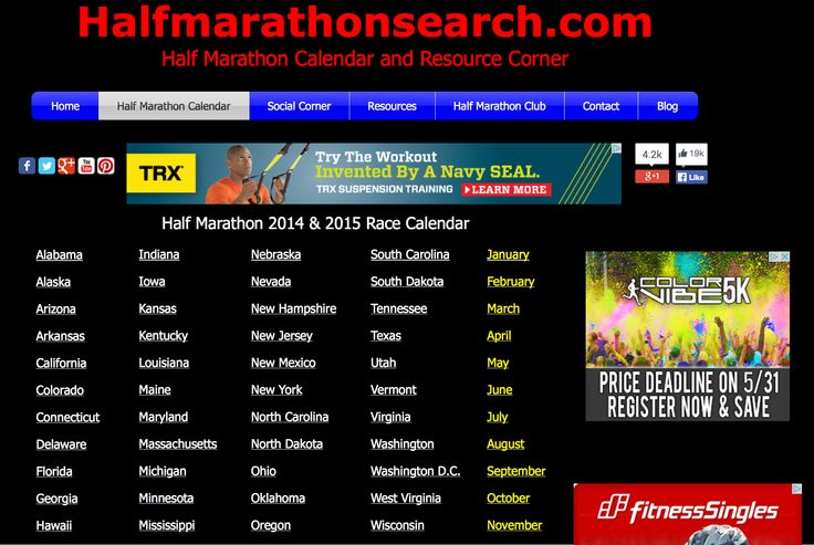 #halfmarathon #halfmarathons #running Half Marathon Calendar - Search for a 2014 half marathon or 2015 half marathon. Half marathon by state. Half Marathon by month. California half marathons - Texas half marathons - Colorado half marathons - New York half marathons - June half marathons - July half marathons - August half marathons - September half marathons - October half marathons - November half marathons   ..... and more   www.halfmarathonsearch.com/#!half-marathon-calendar/cjg9