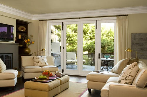Family Room with patio doors and furniture layout, via Flickr