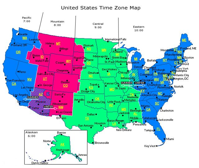 Map Of Us Time Zones With Cities ~ CVLN RP