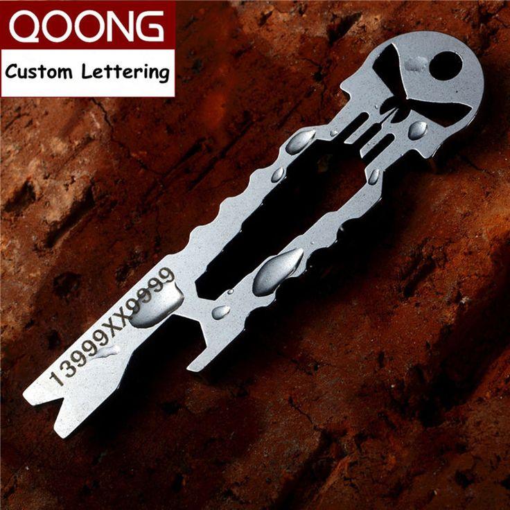 Qoongパニッシャーedc多機能ツールキーホルダー付きレンチクローバドライバー栓抜きスケルトンキーチェーンリングホルダーh03