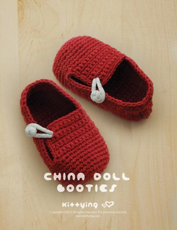 China Doll Baby Booties Crochet PATTERN by kittying.com from mulu.us | This pattern includes sizes for 0 - 12 months.