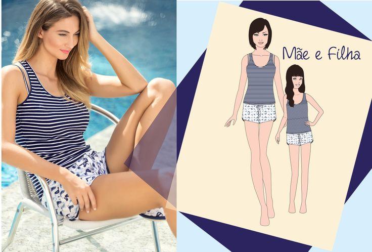 Mâe e filha! Estilo perfeito para a transição da primavera! #ultimolookdodia #lindaemcasa #pijamas #modaintima #springsummer2016 #conforto #mulher #woman #primaveraverano2016