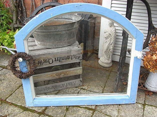 Vintage Bilderrahmen - altes Rundbogen Fenster Bilderrahmen shabby chic E - ein Designerstück von artdecoundso bei DaWanda