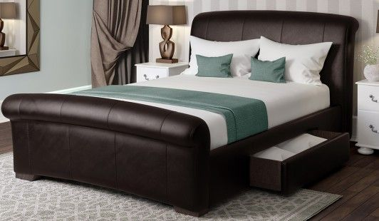 Santino Brown Faux Leather Bed Frame 135cm