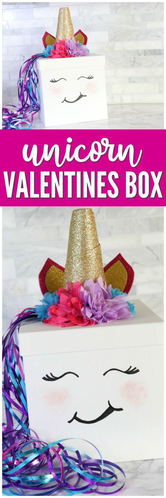 Easy Unicorn Valentines Day Box Idea You can Make Yourself! This is the Perfect Girl Valentines Day Box Idea for school your Unicorn Lover!