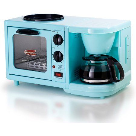 Americana by Elite EBK-200BL 3-in-1 Mini Breakfast Shoppe, Coffee, Toaster Oven, Griddle, Mint Blue Home Garden Kitchen Dining Kitchen Appliances Ovens Conveyor Ovens