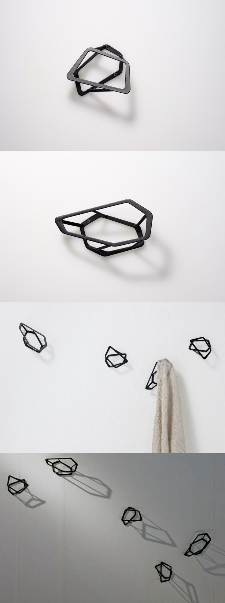 "Wall hook ""sprinkle""  Beautiful shadows, black 