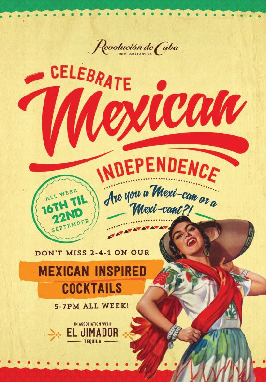 Mexican Independence Party Poster, Colourful, Typography Graphic Designs by www.diagramdesign.co.uk