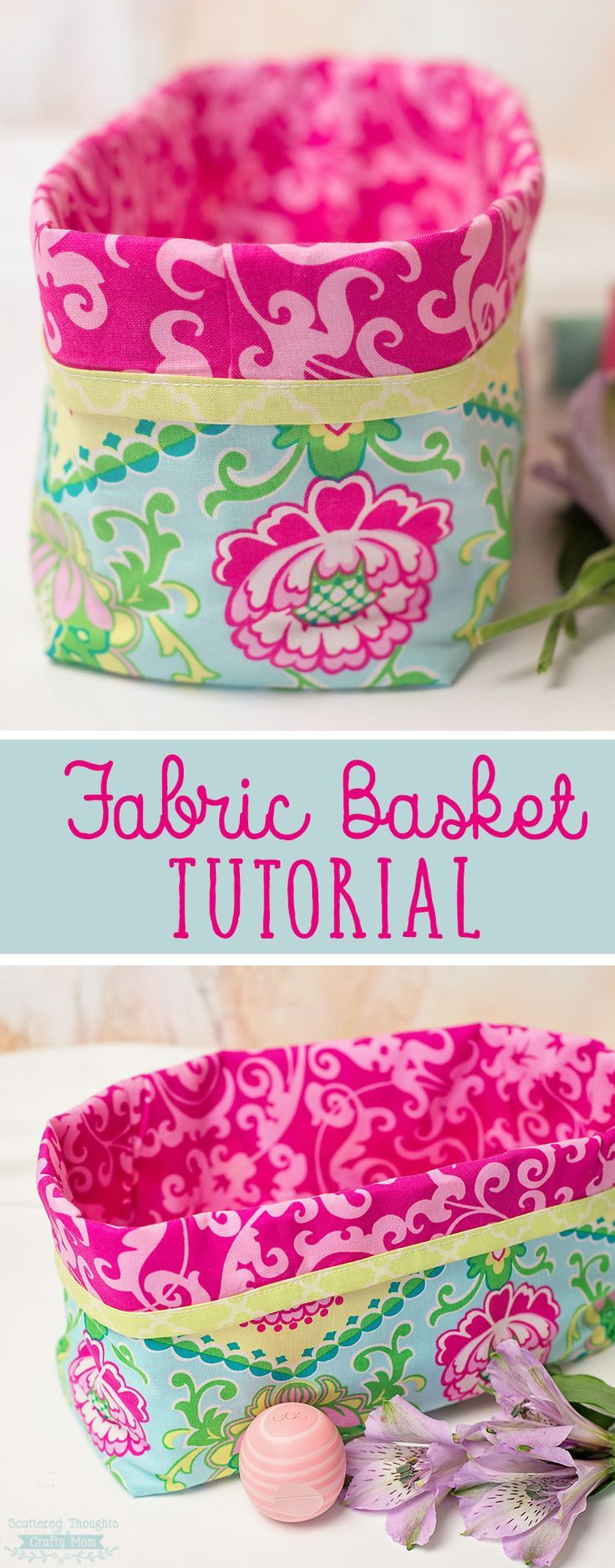 How to make a Fabric Basket: This DIY Fabric Gift Basket tutorial can be customized to your gift/theme and is perfect for dressing up any gift basket!