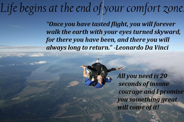 This is a photo of me skydiving with some of my favorite quotes about skydiving. GO SKYDIVING! Skydive, just do it.