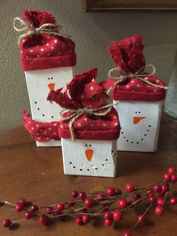 Wooden snowmen Christmas mantle decorations by DebDebsCrafts                                                                                                                                                                                 More