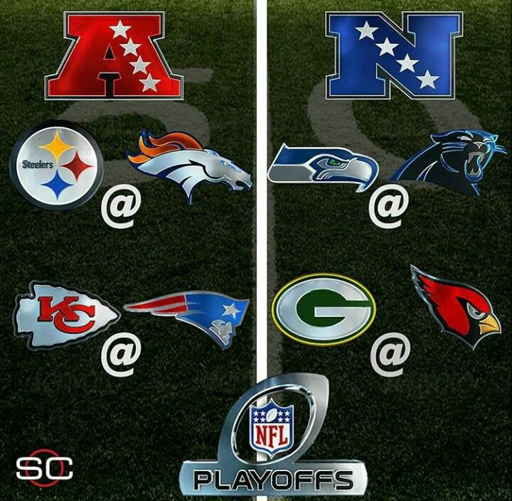 Next week's Playoff Schedule Saturday, Jan. 16 AFC Divisional Round Game 1: Kansas City Chiefs vs. New England Patriots, 4:35 p.m., CBS NFC Divisional Round Game 1: Arizona Cardinals vs. Green Bay Packers, 8:15 p.m., NBC Sunday, Jan. 17 NFC Divisional Round Game 2: Carolina Panthers vs. Seattle Seahawks, 1:05 p.m., FOX AFC Divisional Round Game 2: Pittsburgh Steelers vs. Denver Broncos, 4:40 p.m., CBS
