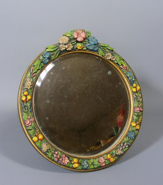 Beautiful Small Vintage Barbola Mirror by Antiquesonlineorg