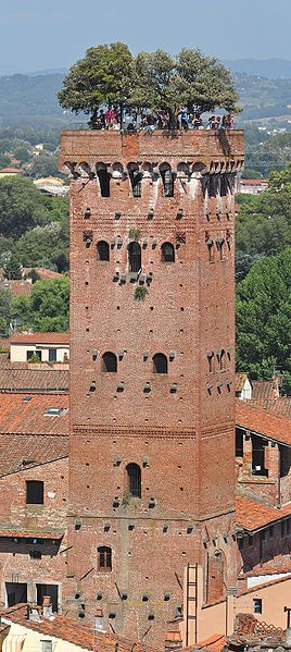 the Guinigi tower in Lucca, Italy with its famous trees on top