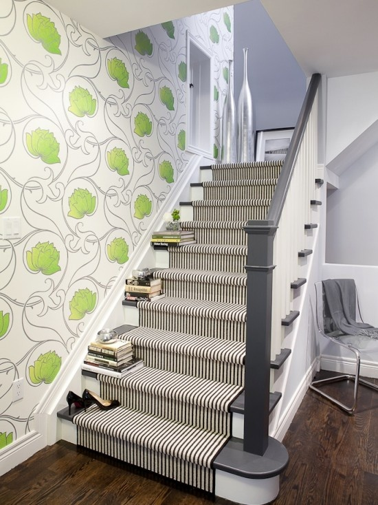 like the wall paper idea going up the stairs but no where else....