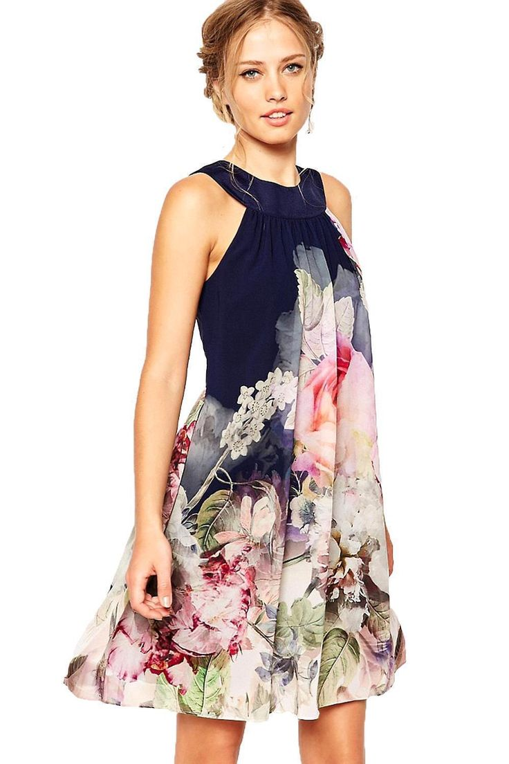 Newest Jewel A-line 2017 Women Dress Sleeveless Print Chiffon