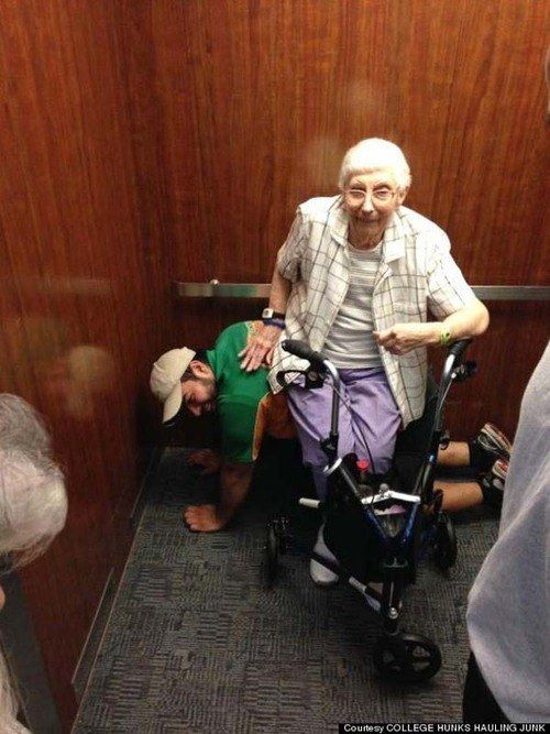 This man providing a comfortable seat after an elevator got stuck: | 32 Pictures That Will Change The Way You See The World