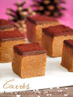 Mignardises : Petits carrés aux spéculoos & deux chocolats