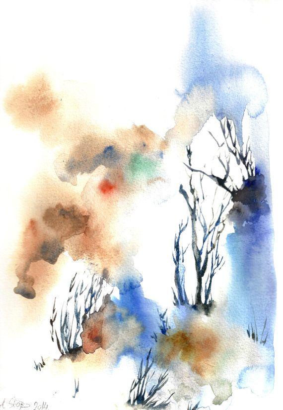 Abstract landschap aquarel schilderij in blauw Originele aquarel Aquarel moderne kunst  Een van een soort aquarel kunstwerk  Schaal van 9,5  x13.5 Medium: top merkproducten aquarel verven op koude druk papier 180 pond (400g) van de kleur van de water  Ondertekende voor- en achterkant Gedateerd op de achterkant. Niet ingelijst.  Alle schilderijen zijn geschenk verpakt in een cellofaan invoegen en kartonnen steun voor optimale bescherming, per geregistreerde internationale post verstuurd met…