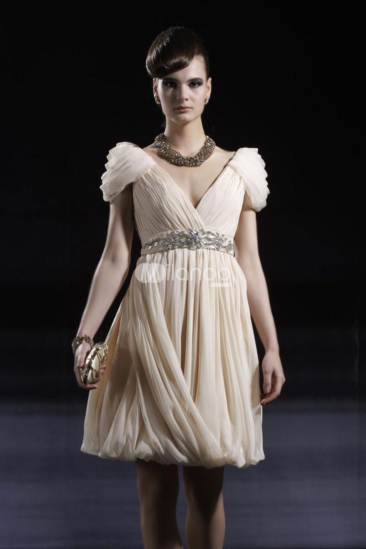 gamesinfomation.com Beige Rhinestone Princess Feeling V-Neck Chiffon Womens Cocktail Dress coupon| gamesinfomation.com