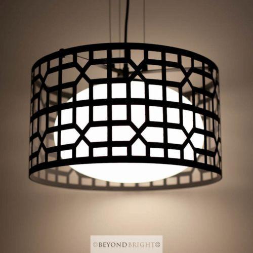 NEW Modern Pendant Ceiling Light BLACK Glass Iron Lamp Shade Hanging Lights 38cm