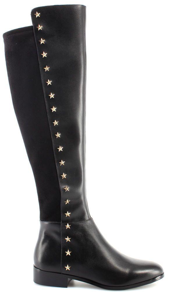 Women's Shoe MICHAEL KORS Bromley Flat Boot Leather Star Studs 40F7BOFB5L Black #MichaelKors #KneeBoots