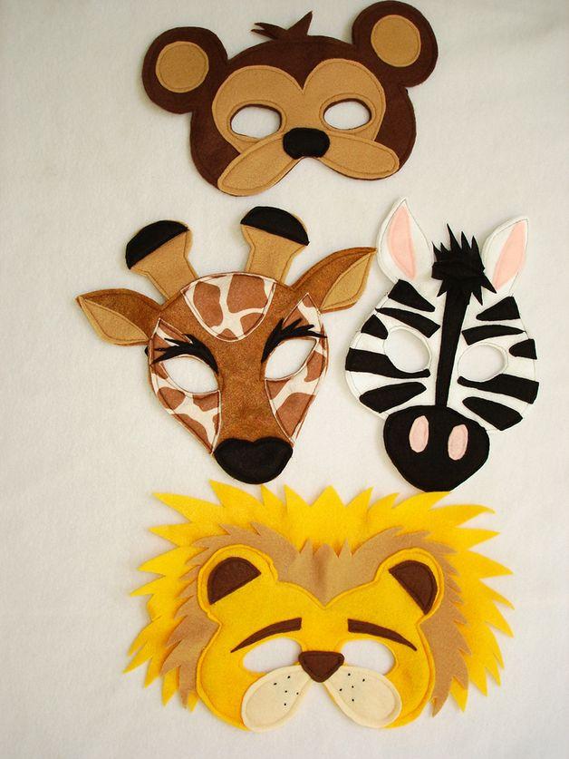Children's Safari Animal Felt Masks Set of 4