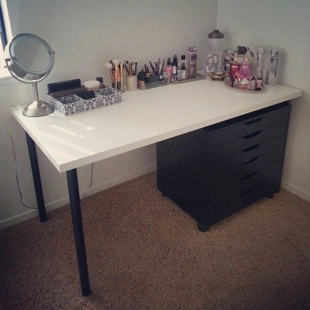 My Makeup Vanity White Linnmon Table Top 26 Black Adils Legs 3 50 Each 4 Alex Drawers 119 Got It For