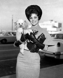 Priscilla Presley with her poodle