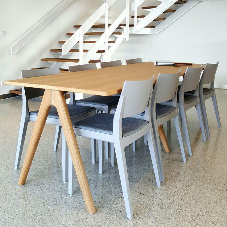 Arko table design Sami Kallio Studio  and Tova chairs design Stina Sandwall by Lundbergs Möbler  at Duracryl showroom