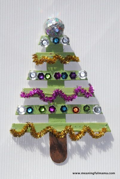 Christmas tree made from lolly sticks