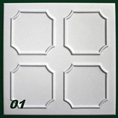 1 m2 Deckenplatten Styroporplatten Stuck Decke Dekor Platten 50x50cm, Nr.01