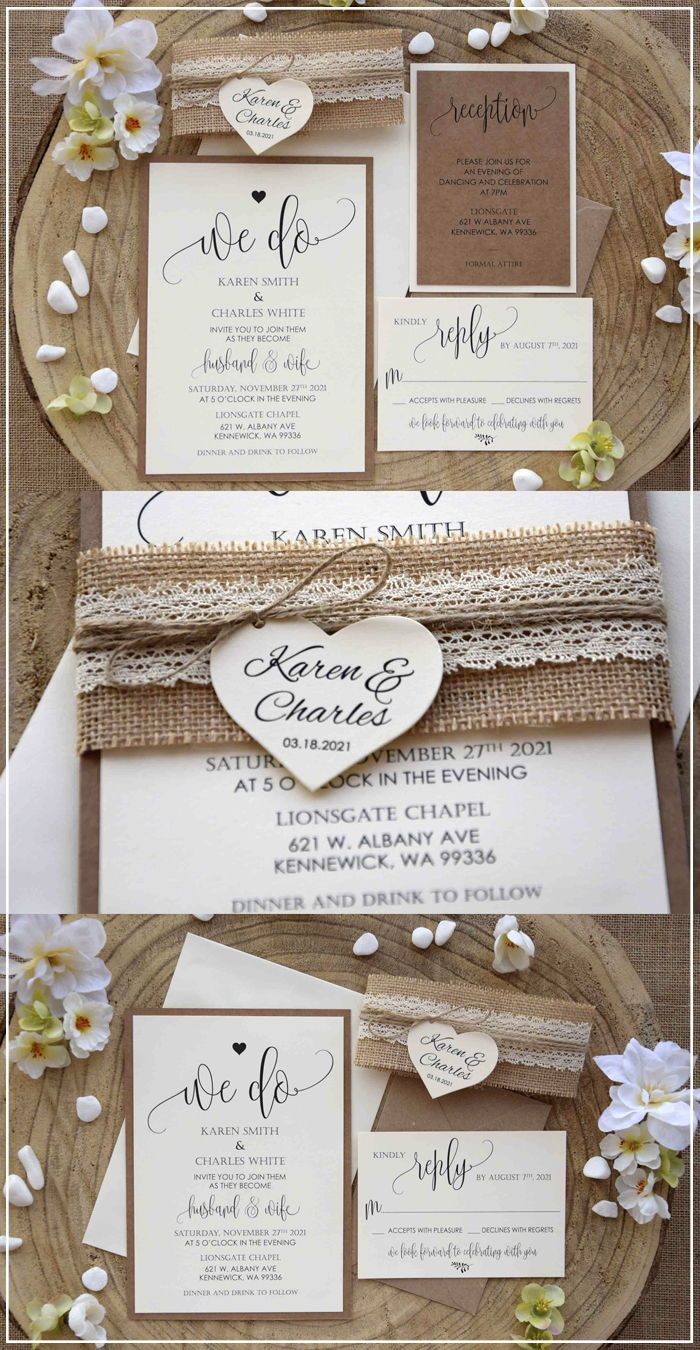 Lace Wedding Invitations Kit Burlap And Lace Marriage Invitations Burlap Wedding Invitations Lace Wedding Invitations Country Wedding Invitations