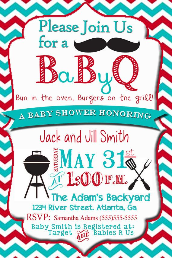 couples baby shower invitation baby bbq shower bun in the oven cookout invitation