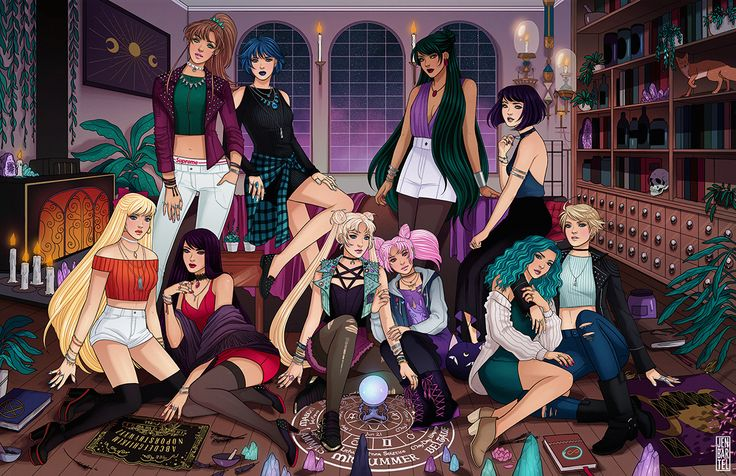 """A+witch+is+just+a+magical+girl+who+read+up+on+feminism.""    Sailor+Moon+coven+print+designed+by+Jen+Bartel.    12""+by+18""+landscape  Matte+print  Watermarked+logo+not+included"