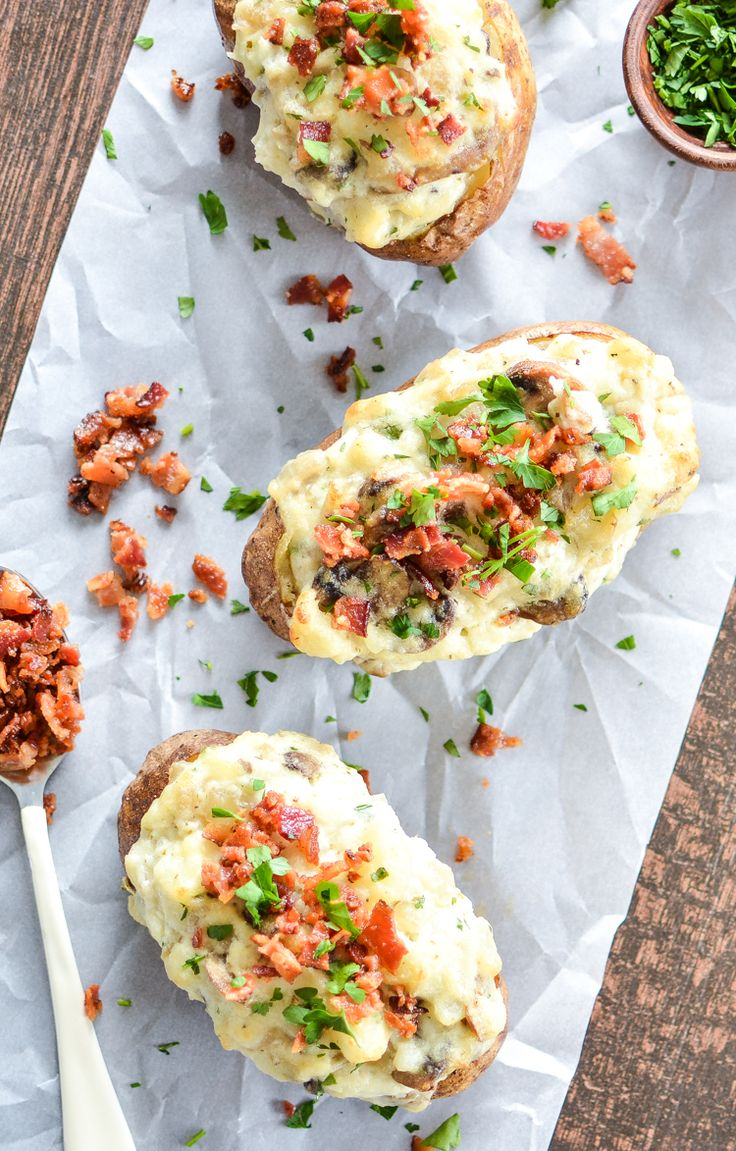 Baked Potatoes with Mushrooms, Onions and Bacon | Recipe | Twice Baked ...