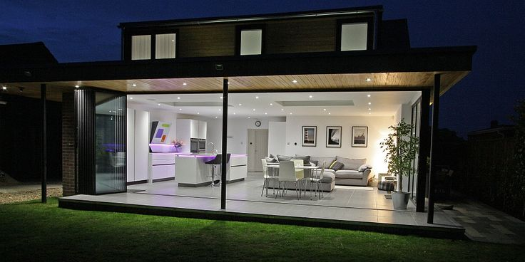 Stunning photo of UltraSlim Doors fully open and stacked to the sides  (Doors made in the UK by www.SunSeekerDoors.co.uk)