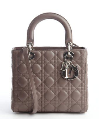 Christian Dior: pigeon grey cannage quilted lambskin 'Lady Dior'  top handle bag