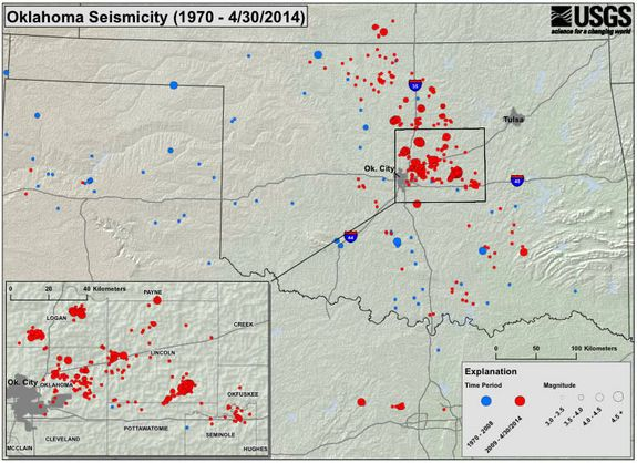 Rare Earthquake Warning Issued for Oklahoma - 5/5/2014 Warning from U.S. Geological Survey & Oklahoma Geological Survey, in joint statement, warned the risk of a damaging earthquake--one LARGER than magnitude 5.0--has significantly increased in central Oklahoma...