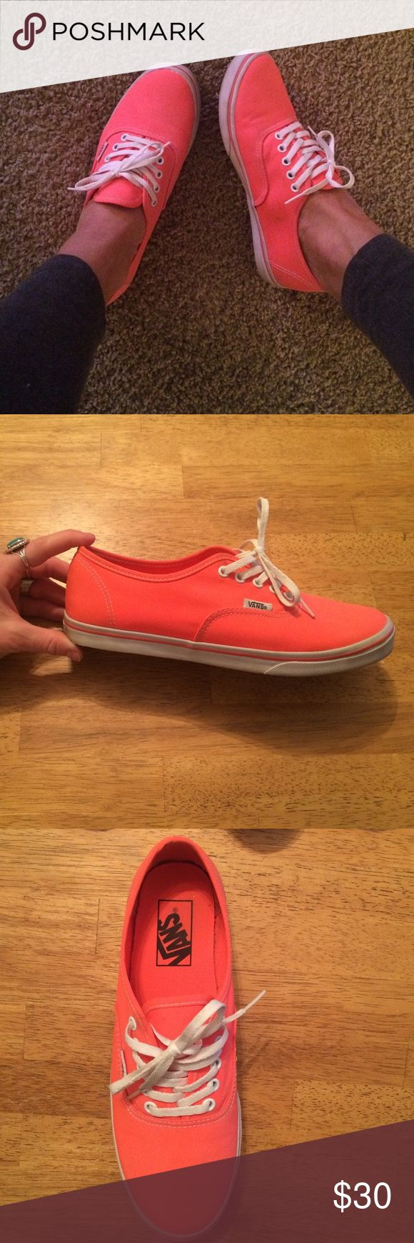 Woman's Neon Coral Vans these are Authentic lo pro style neon coral vans. Only worn a couple times and in great condition.  very light dark spot on the inside of one shoe; I tried to show in the last picture but barely noticeable! Vans Shoes Sneakers