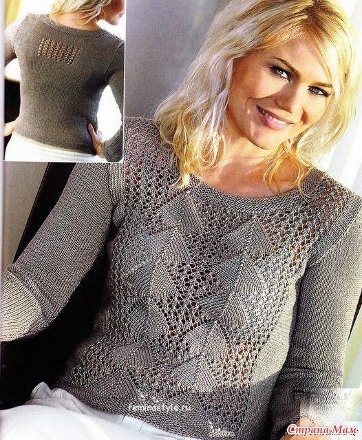 Девочки, здравствуйте!.. Продолжаем подбирать модели к осеннему сезону. Серебристо-серый пуловер с ажурными узорами, связанный спицами, является воплощением женственности и элегантности.