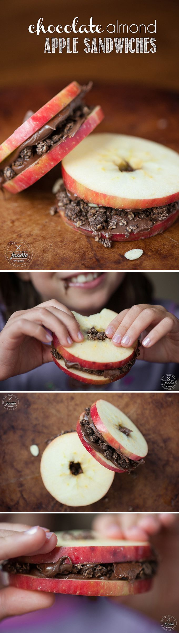Chocolate Almond Apple Sandwiches are an easy and fun to make treat that your kids will love, especially as an after school snack.
