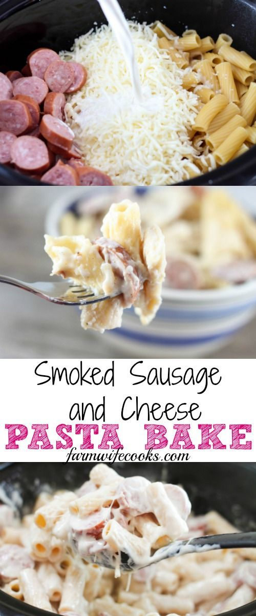 Are you looking for an easy crock pot meal the whole family will love? This Smoked Sausage and Cheese Pasta Bake has 5 ingredients and will win over the pickiest eater!
