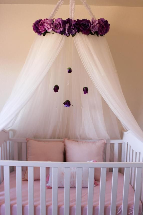 Violet Canopy Floral Crib Canopy Bed Crown Nursery Decor Teepee Floral Mobile Baby Crib Canopy Baby Girl Room Baby Girl Nursery Room